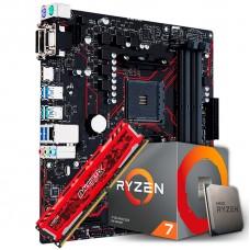 Kit Upgrade  Asus Prime B450M Gaming/BR DDR4 + Processador AMD Ryzen 7 3700x 3.6GHz + Memória DDR4 8GB 2666MHz