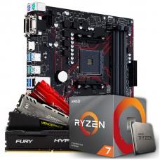 Kit Upgrade  Asus Prime B450M Gaming/BR DDR4 + Processador AMD Ryzen 7 3700x 3.6GHz + Memória DDR4 8GB 3000MHz