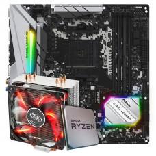 Kit Upgrade Placa Mãe ASRock B450M Steel Legend + Processador AMD Ryzen 7 3800x 3.9GHz + Cooler Deepcool Gammaxx 400