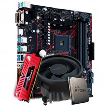 Kit Upgrade Placa Mãe Asus Prime B450M Gaming/BR AMD AM4 + Processador AMD Ryzen 5 3500 3.6GHz + Memória DDR4 16GB 3000MHz