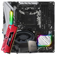 Kit Upgrade Placa Mãe ASRock B450M Steel Legend AMD AM4 + Processador AMD Ryzen 5 3600 3.6GHz + Memória DDR4 8GB 3000MHz