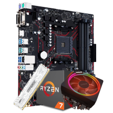 Kit Upgrade Placa Mãe Asus Prime B450M Gaming/BR DDR4 AM4 + Processador Amd Ryzen 7 2700x 3.7ghz + Memória DDR4 8GB 2666MHz