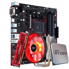 Kit Upgrade Placa Mãe Asus Prime B450M Gaming/BR AMD AM4 + Processador AMD Ryzen 7 2700 3.2GHz + Memória DDR4 8GB 2666MHz