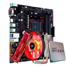 Kit Upgrade Placa Mãe Asus Prime B450M Gaming/BR AMD AM4 + Processador AMD Ryzen 7 2700 3.2GHz + Memória DDR4 16GB 2666MHz