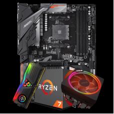 Kit Upgrade Placa Mãe Gigabyte B450 Aorus Elite DDR4 AM4 + Processador Amd Ryzen 7 2700x 3.7ghz + Memória DDR4 8GB 3000MHz