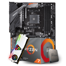 Kit Upgrade Placa Mãe Gigabyte B450 Aorus Elite DDR4 AM4 + Processador AMD Ryzen 7 2700 3.2GHz + Memória DDR4 8GB 3000MHz