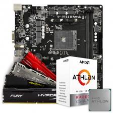 Kit Upgrade Placa Mãe ASRock A320M-HD, AMD AM4 + Processador AMD Athlon 3000G 3.5GHz + Memória DDR4 8GB 2666MHz