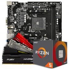 Kit Upgrade Placa Mãe Asrock A320M-HD, AMD AM4 + Processador AMD Ryzen 5 2600 3.4GHz + Memória DDR4 8GB 2666MHz