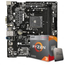 Kit Upgrade Placa Mãe Asrock A320M-HD, AMD AM4 + Processador AMD Ryzen 3 3200G 3.6GHz