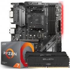 Kit Upgrade Placa Mãe MSI B450 Tomahawk AMD AM4 + Processador AMD Ryzen 7 3700x 3.6GHz + Memória DDR4 16GB (2X8GB) 3000MHz