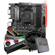 Kit Upgrade Placa Mãe MSI B450 Tomahawk AMD AM4 + Processador AMD Ryzen 5 3600 3.6GHz + Memória DDR4 16GB (2X8GB) 3000MHz
