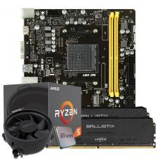 Kit Upgrade Placa Mãe Biostar B450MH, AMD AM4 + Processador AMD Ryzen 5 2600 3.4GHz + Memória DDR4 16GB (2X8GB) 3000MHz