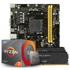 Kit Upgrade Placa Mãe Biostar B450MH, AMD AM4 + Processador AMD Ryzen 7 2700 3.2GHz + Memória DDR4 16GB (2X8GB) 3000MHz
