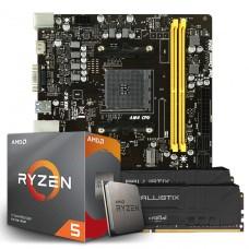 Kit Upgrade Placa Mãe Biostar B450MH, AMD AM4 + Processador AMD Ryzen 5 3600 3.6GHz + Memória DDR4 16GB (2X8GB) 3000MHz