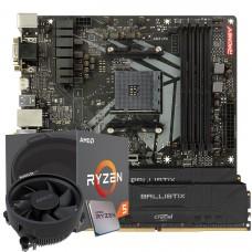 Kit Upgrade Biostar Racing B450GT3 AMD AM4 + Processador AMD Ryzen 5 2600 3.4GHz + Memória DDR4 16GB (2X8GB) 3000MHz