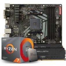 Kit Upgrade Biostar Racing B450GT3 AMD AM4 + Processador AMD Ryzen 7 2700 3.2GHz + Memória DDR4 16GB (2X8GB) 3000MHz