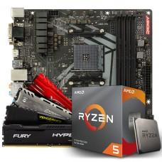 Kit Upgrade Biostar Racing B450GT3 AMD AM4 + Processador AMD Ryzen 5 3600 3.6GHz + Memória DDR4 16GB (2X8GB) 3000MHz
