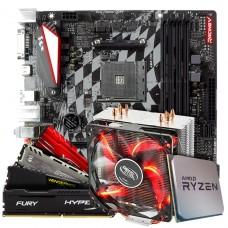 Kit Upgrade Placa Mãe Biostar Racing X470GTQ + Processador AMD Ryzen 7 3800x 3.9GHz + Cooler Deepcool Gammaxx 400 de 120mm + Memória DDR4 16GB (2X8GB) 3000MHz