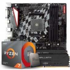 Kit Upgrade, AMD Ryzen 7 3700X, Biostar Racing X470GTQ, Memória DDR4 16GB (2X8GB) 3000MHz