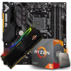 Kit Upgrade Placa Mãe Asus TUF B450M-PLUS GAMING, AMD AM4 + Processador AMD Ryzen 5 3600 3.6GHz + Memória Tuf DDR4 8GB 3000MHz