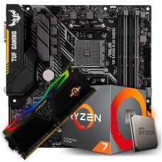 Kit Upgrade Placa Mãe Asus TUF B450M-PLUS GAMING, AMD AM4 + Processador AMD Ryzen 7 3700x 3.6GHz + Memória TUF DDR4 8GB 3000MHz