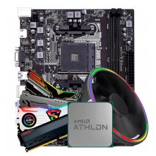 Kit Upgrade, AMD Athlon 200GE, Colorful A320M-K PRO V14, Memória DDR4 16GB (2x8GB) 3000MHz