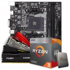 Kit Upgrade Placa Mãe Colorful AB350M-K PRO V14, AMD AM4 + Processador AMD Ryzen 3 3200G 3.6GHz + Memória DDR4 8GB 3000MHz
