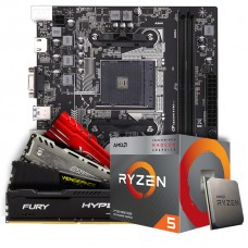 Kit Upgrade Placa Mãe Colorful AB350M-K PRO V14, AMD AM4 + Processador AMD Ryzen 5 3400G 3.7GHz + Memória DDR4 8GB 3000MHz