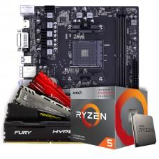Kit Upgrade Placa Mãe Battle-AX B450M-HD V14, AMD AM4 + Processador AMD Ryzen 5 3400G 3.7GHz + Memória DDR4 8GB 3000MHz