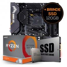 Kit Upgrade Placa Mãe Asus TUF Gaming X570-Plus AMD AM4 + Processador AMD Ryzen 9 3900XT 4.7GHz + Grátis SSD 240GB