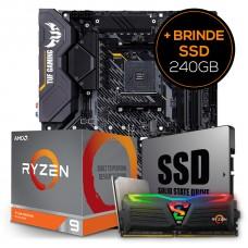 Kit Upgrade Placa Mãe Asus TUF Gaming X570-Plus AMD AM4 + Processador AMD Ryzen 9 3900XT 4.7GHz + Memória DDR4 8GB 3000MHz + Grátis SSD 240GB