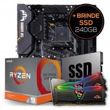 Kit Upgrade Placa Mãe Asus TUF Gaming X570-Plus AMD AM4 + Processador AMD Ryzen 9 3900XT 4.7GHz + Memória DDR4 16GB (2X8GB) 3000MHz + Grátis SSD 240GB
