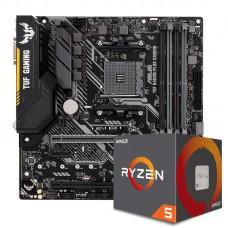 Kit Upgrade Placa Mãe Asus TUF B450-Plus Gaming DDR4 + PROCESSADOR AMD RYZEN 5 2600 3.4GHZ