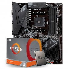 Kit Upgrade Placa Mãe Gigabyte B550 Gaming X AMD AM4  + Processador AMD Ryzen 9 3900XT 4.7GHz