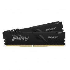 Memória Kingston Fury Beast, 16GB (2x8GB), 3600Mhz, DDR4, CL17, Preto, KF436C17BBK2/16