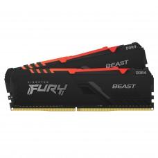 Memória Kingston Fury Beast RGB, 16GB (2x8GB), 3600Mhz, DDR4, CL17, Preto, KF436C17BBAK2/16