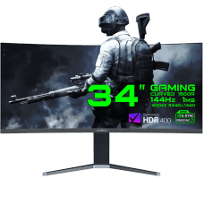 Monitor Gamer GameMax 34 Pol Ultra Wide Curvo, WQHD, 144Hz, 1ms, Black, GMX34CKXQ