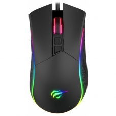 Mouse Gamer Havit MS1001 RGB 7 Botões 7200 DPI Preto - Open Box