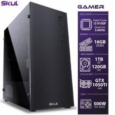 PC Gamer Skul T-MOBA 3000 i3 9100F / 16GB DDR4 / SSD 120GB / HD 1TB / GTX 1050 Ti / FONTE 500W