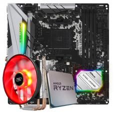 Placa Mãe ASRock B450M Steel Legend AMD AM4 + Processador AMD Ryzen 7 2700 3.2GHz + Cooler DeepCool Gammaxx 300R