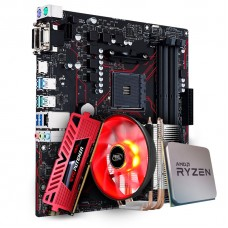 Placa Mãe Asus Prime B450M Gaming/BR AMD AM4 + Processador AMD Ryzen 7 2700 3.2GHz + Cooler DeepCool Gammaxx 300R + Memória DDR4 8GB 3200MHz