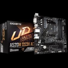 Placa Mãe Gigabyte A520M DS3H AC, Chipset A520, AMD AM4, Wi-Fi, mATX, DDR4, 9MA52M3HC-00-11