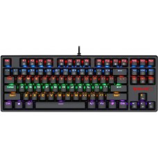 Teclado Mecânico Gamer Redragon K576R Daksa Rainbow, Switch Blue, ABNT2, Black