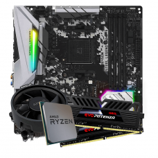 Kit Upgrade, AMD Ryzen 5 3600, ASRock B450M Steel Legend, Memória Geil Evo Potenza DDR4 16GB (2x8GB) 3000MHz