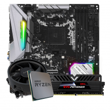 Kit Upgrade, AMD Ryzen 5 3500, ASRock B450M Steel Legend, Memória Geil Evo Potenza DDR4 8GB 3000MHz