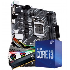 Kit Upgrade, Intel i3 10100F, Gigabyte H410M H, Memória DDR4 16GB (2X8GB) 3000MHz