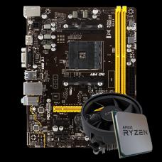 Kit Upgrade Placa Mãe Biostar A320MH DDR4 AMD AM4 + Processador AMD 5 3500 4.1GHz