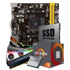 Kit Upgrade Placa Mãe Biostar A320MH DDR4 AMD AM4 + Processador AMD Ryzen 5 2400G 3.6GHz + Memória DDR4 8GB 3000MHz + SSD 120GB
