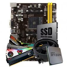 Kit Upgrade Placa Mãe Biostar A320MH DDR4 AMD AM4 + Processador AMD 5 3500 4.1GHz + Memória DDR4 8GB 3000MHz + SSD 120GB
