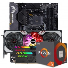 Kit Upgrade ASRock Radeon RX 6700 XT Phantom Gaming D OC + AMD Ryzen 5 5600X + ASUS TUF GAMING X570-Plus + Memória DDR4 16GB (2x8GB) 3600MHz